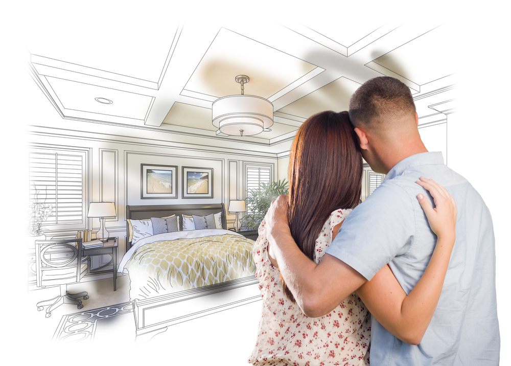 Curious Young Military Couple Looking Over Custom Bedroom Design Drawing Photo Combination