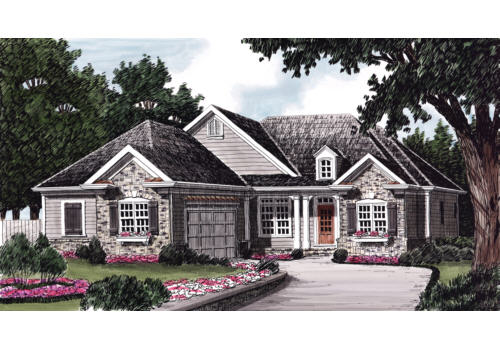 elevation - French Country Cottage House Plans