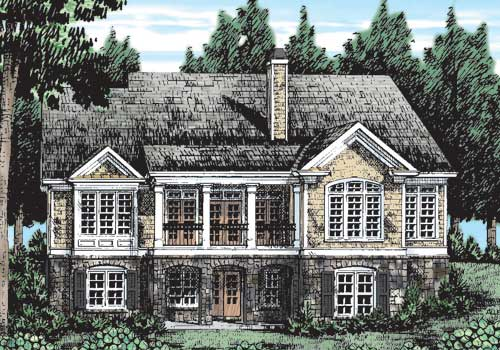 Hickory Grove House Plan Rear Elevation