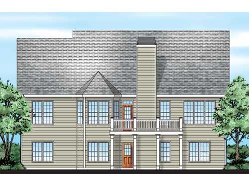 Brickell House Plan Rear Elevation