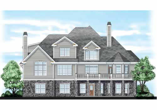 Chapel Hill House Plan Rear Elevation