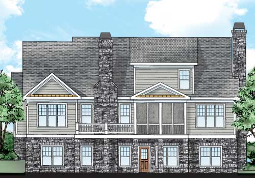Atherton House Plan Rear Elevation