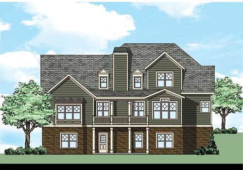 Palisades House Plan Rear Elevation