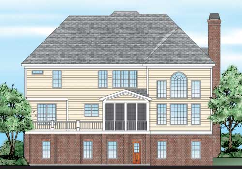 Mendenhall House Plan Rear Elevation